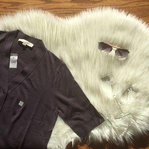 LOFT V-Neck Short Sleeve Cardigan